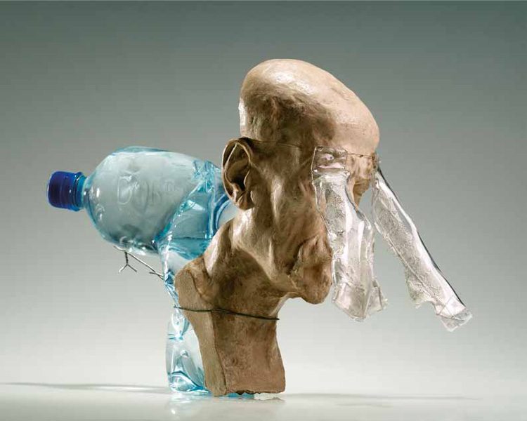 The Dreaming One. 2002/plastic bottle, water, wire, Perspex, lace, burnt clay